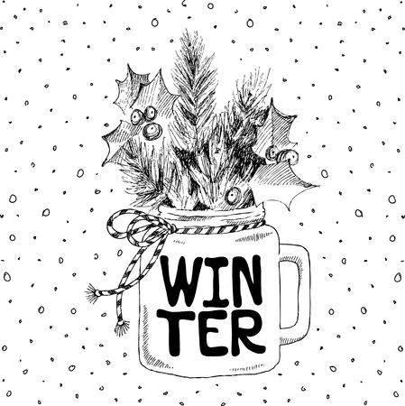 Cup with Christmas plants. Lettering phrase Winter. Vector hand-drawn illustration. Christmas concept. Illustration