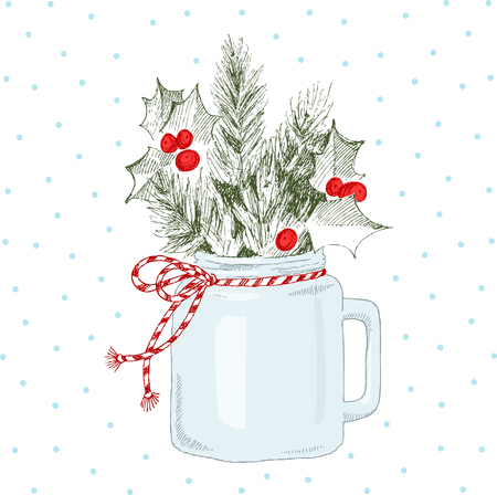 Cup with Christmas plants. Vector hand-drawn illustration. Christmas concept.