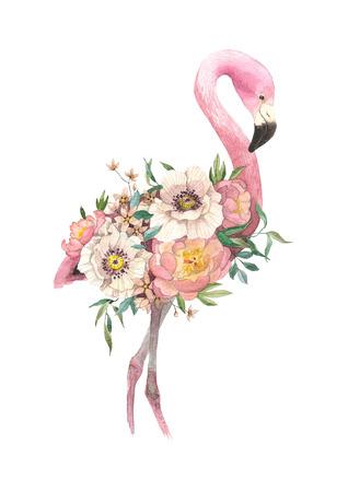 exotische heldere vogel Flamingo met bloeiende bloemen. Geïsoleerde decoratief element. Aquarel vogel concept. Tropisch concept. bloem concept