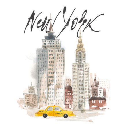 Isolated hand drawing illustration New York. Watercolor concept.