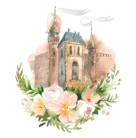 Hand made sketch of old town with flowers. Watercolor artwork.