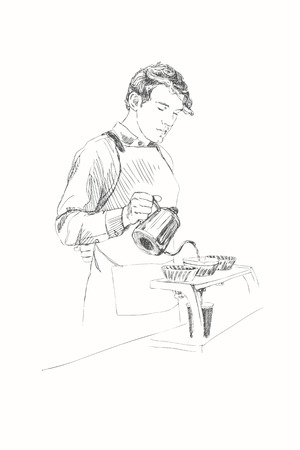 Young barista man vector illustration in pencil style. Ilustrace
