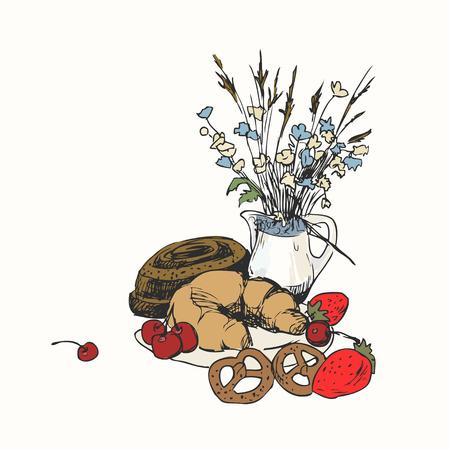 Stilleven met bakkerijproducten, croissant, aromatisch broodje met kaneel en wilde bloemen. Illustratie voor menu, kookboek of kleurboek. Schets geïsoleerd op een witte achtergrond