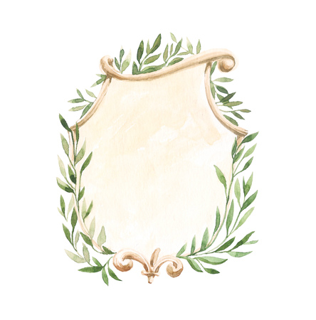 Isolated hand drawing watercolor illustration frame with leaf. Watercolor concept