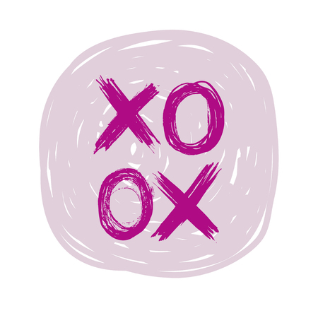 Pink grungy vector abstract X O elements circle on white background Illustration