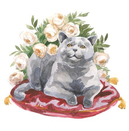 水彩イラストの猫の肖像画。水彩のコンセプトです。ペット コンセプト猫コンセプト。