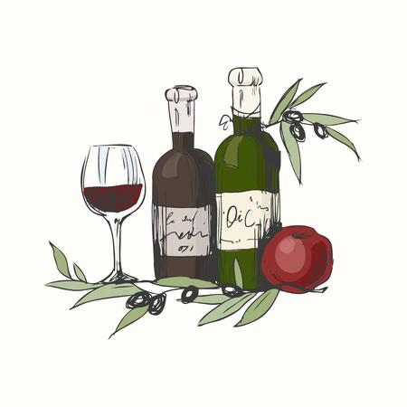 Still life with olive oil and wine, apple and olive branch. Illustration for menu, cookbook or coloring book. Sketch isolated on white background Stock Photo