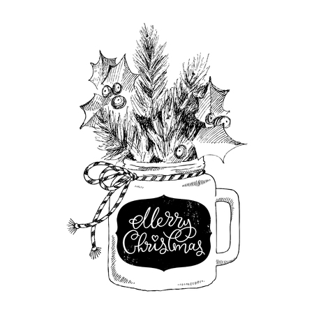 Cup with Christmas plants. Lettering phrase Merry Christmas. Vector hand-drawn illustration. Christmas concept.