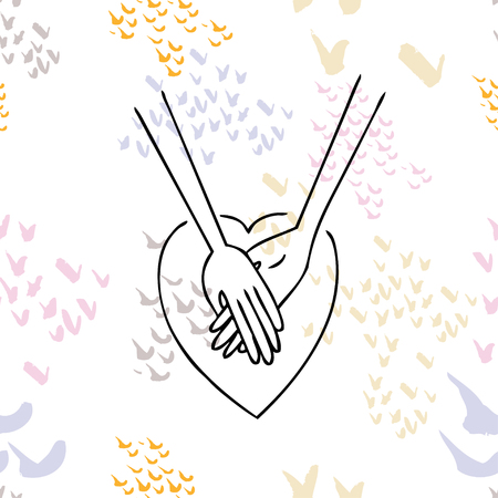 A positive card for lovers. Two hands with heart for invitation, poster, printing, t-shirts. Lettering design illustration. Ilustração
