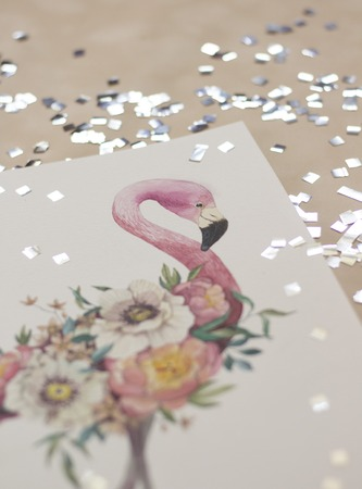 Exotic flowers and flamingo painted with watercolor, paintbrush, isolated on white background. Overhead view. Flat lay, top view Stock Photo