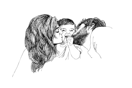 Hand drawing linear Sketch of mother and father with kid. Modern style. Detailed emotional illustration