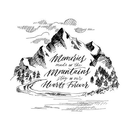 Inspiring mountain calligraphy. Hand drawing. Vector illustration Stock Illustratie