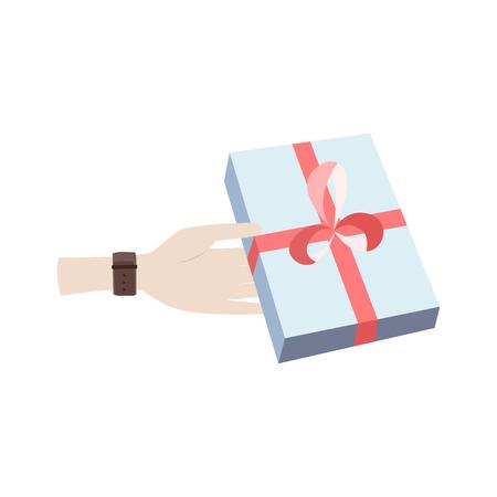 青い箱の中にロマンチックな驚きを持つ男の手。結婚式のコンセプト。愛の概念。ホリデーコンセプト