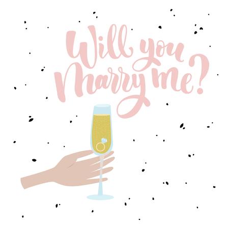Hand tekenen roze inscriptie. Mannenhand met een glas champagne en een ring.