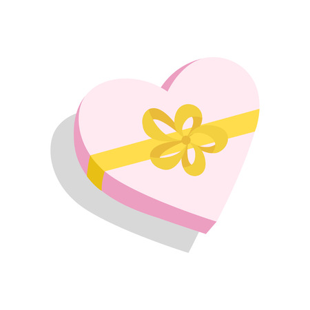 Gift heart Box for birthday party, Valentines day, Mother day, Christmas. Illustration