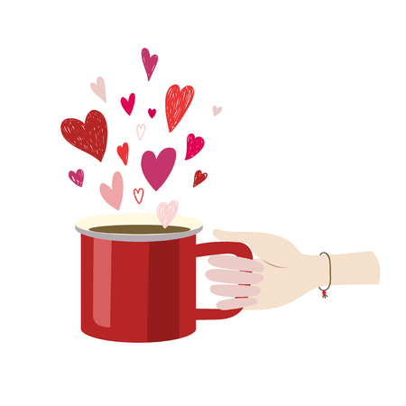 The girl s hand holds a red mug with cocoa. There are many hearts on top.