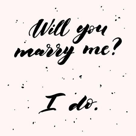 Will you marry me lettering. Hand drawn vector illustration, greeting card, design, logo for Valentine s Day.