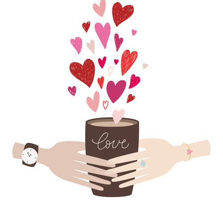 Valentines Day man and woman hand holding brown Coffee Cup Latte Americano Espresso. Love inscription. Flat Design Vector Illustration. Vetores