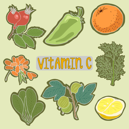 Set of Vitamin C foods healthy plan. Medical healthcare concept. Vector flat icon cartoon vector design illustration Illustration