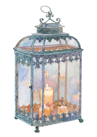Antique lantern with candle. Watercolor hand drawn painting illustration isolated on white background.