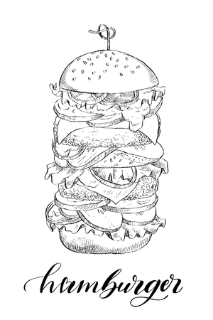 Sketch hand drawn illustration of hamburger. American fast food. Vector monochrome illustration. Food concept