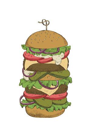 デザイン、パッケージング、カードのためのダブルカツを持つ大きなハンバーガーのカラフルな線形描画。