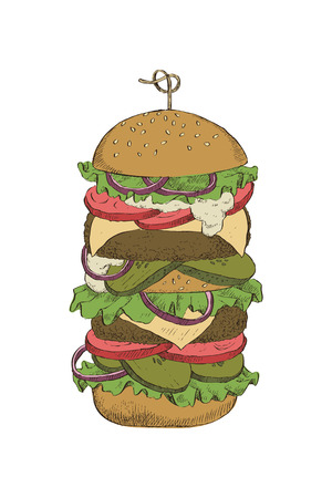 Colorful linear drawing of a big burger with double cutlet for design, packaging and cards.