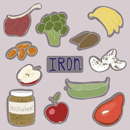 Gezondheidsproducten die veel ijzer bevatten. Appel, boekweit, linzen, rood vlees, bonen, broccoli en banaan