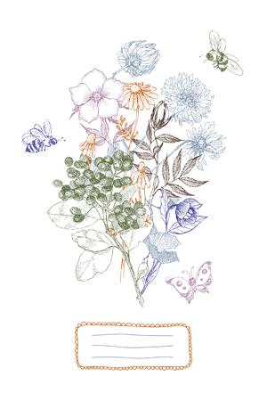 テキストのための場所とヴィンテージ植物イラスト花の花束。花のコンセプト。植物の概念。ベクトルデザイン。  イラスト・ベクター素材