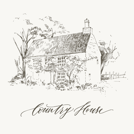 Lettering inscription Country house. Detailed illustration engraving style. Illustration