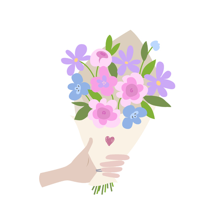 A Male hand gives spring bouquet of flowers. Valentines day, Wedding bouquet flowers, birthday bouquet flowers. Vector illustration in flat design.