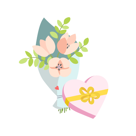 Spring bouquet of flowers and a gift in the form of a heart. Valentines day, Birthday bouquet flowers. Vector illustration in flat design