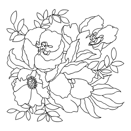 Linear hand drawing. Vector black and white image. Template for coloring books.