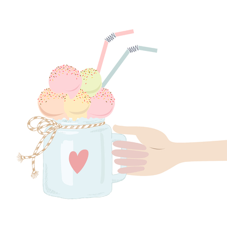 A male or female hand holds an ice cream in jar. Flat design vector illustration