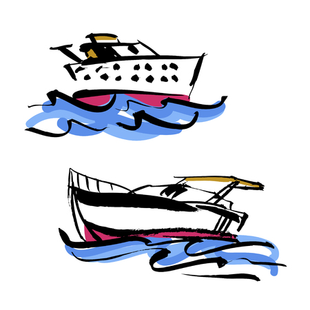 Set of vector illustration. Hand drawn yacht, powerboat and hand written lettering Lets go travel. For logo, typography, printing, cards