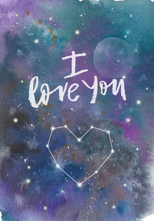Watercolor colorful starry space galaxy nebula spot background. I love you inscription with constellation heart Stock Photo