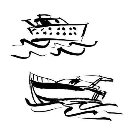 Set of vector illustration. Hand drawn yacht, powerboat and hand written lettering Lets go travel. For icon, typography, printing, cards.