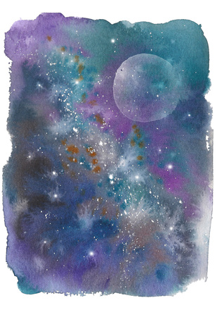 Watercolor colorful starry space galaxy nebula spot background.