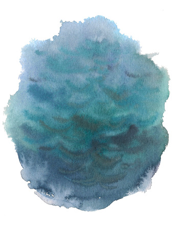 Blue sea water watercolor ink hand drawn stroke isolated paper grain texture spot on white background for design, decoration