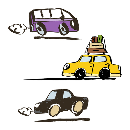 Set of vector illustration. Hand drawn retro car that travels.