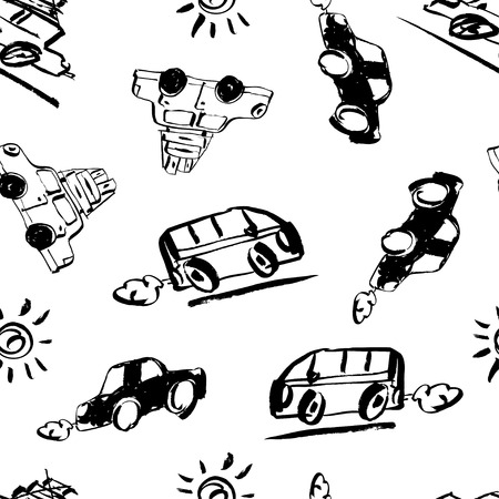 Seamless pattern vector illustration. Hand drawn retro car with suitcases and hand written lettering of Lets go travel. Ilustracja
