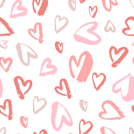 Vector seamless pattern, Simple repeating texture with chaotic hearts.