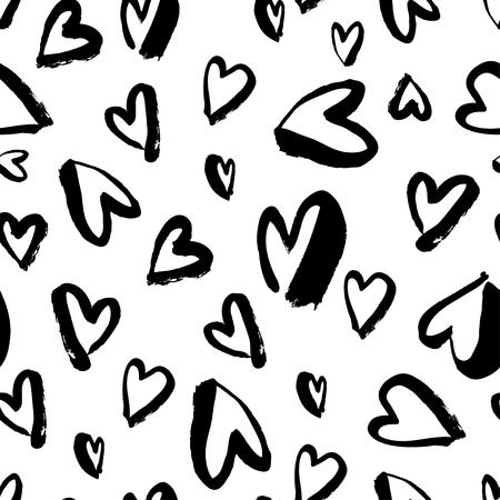 Vector seamless pattern. Simple repeating texture with chaotic hearts. Valentines day, for wedding invitation, clothes and other.