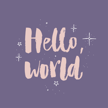 Hello world modern calligraphy text, handwritten with brush and ink, isolated on violet background with magical pollen.