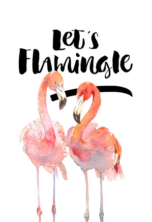 Hand drawn flamingo couple. Pink tropical birds. Lets flamingle Lettering quote.