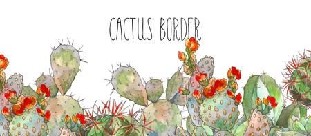 Watercolor border botanical illustration cactus, isolated object, tropics Imagens - 98222183