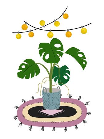 白色に隔離された鉢植えのモンステラ植物。ポットの緑の家の装飾的な花。手描きフラット漫画のイラスト。