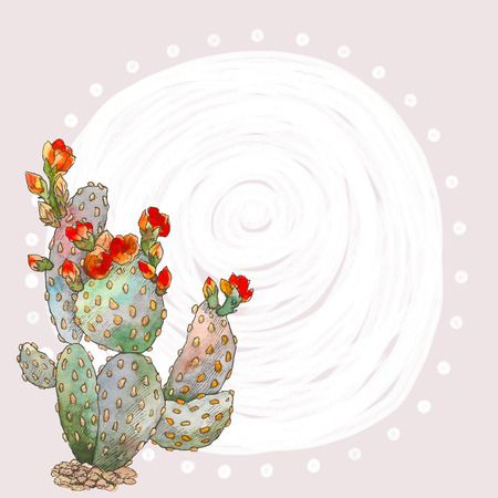 Watercolor botanical illustration cactus, isolated object, tropics. Place for text