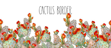 Watercolor border botanical illustration cactus, isolated object, tropics