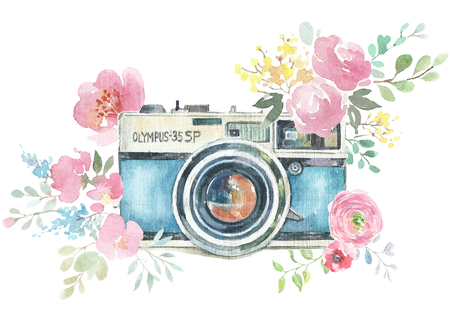 Watercolor photo label. Hand drawn photo camera surrounded by various flowers: roses, lavender, leaves and branches. Watercolor illustrations collage